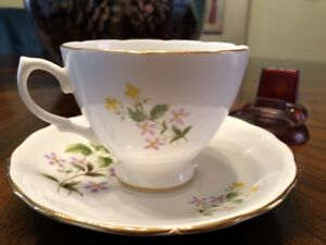 Crown Royal Tea Cup And Saucer Bone China Set With Lavender And Yellow Flowers