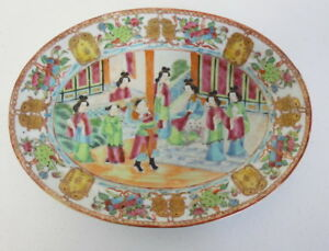 Early Chinese 19th Century Antique Cantonese Rose Medallion Oval Dish