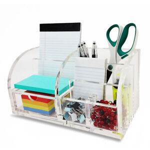 New Deluxe Desktop Organizer Clear Acrylic Paper notepad pencil pen Holder