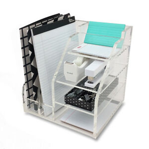 New Deluxe Desktop Organizer Clear Acrylic File Paper Organization Station
