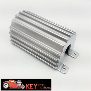 Polished Finned Aluminum Ignition Coil Cover Holder Mount Round Chevy Ford Hei