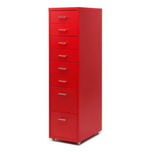 Rolling Metal File Cabinet Mobile Storage Filing Cabinet W 8 Drawers Red L3k1