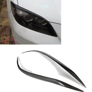 Fits Mazda 3 Sedan 4door Carbon Fiber Headlight Cover Eyelids Eyebrows 2007 2011