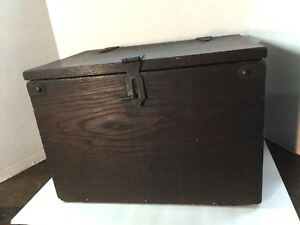 Amazing Vintage Primitive Hand Crafted Solid Oak Wooden Storage Box Early 1900 S