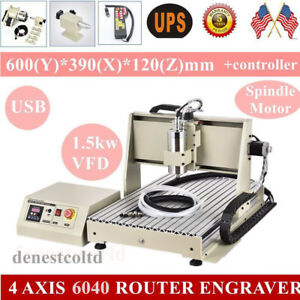 Usb 4 Axis 6040t Router Engraver 1500w Vfd spindle 3d Milling Machine controller