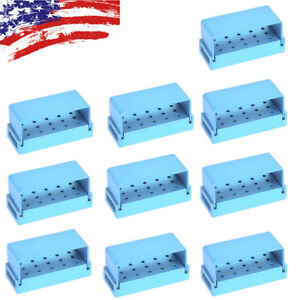 10pcs Dental Disinfection Burs Holder 15holes Opening Box Aluminum Case Blue Usa