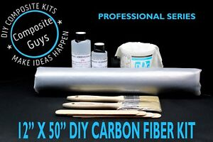 Real Carbon Fiber Fabric 12 X 50 Skinning Laminating Starter Kit 3k 2x2 Twill