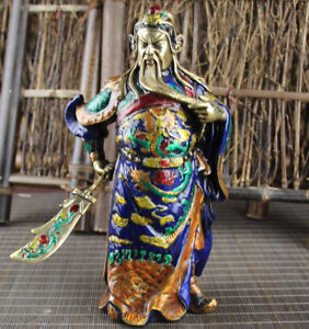 Chinese Folk Bronze Gilt Stand Guan Yu Guan Gong God Hold Sword Statue Figurine