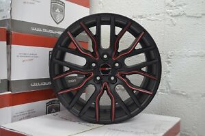 4 Wheels 18 Inch Matte Black Red Flare Rims Fits Mitsubishi Lancer Evolution