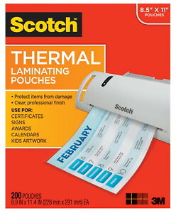 Scotch Thermal Laminating Pouch 8 9 10 X 11 2 5 Inches 3 Mil Thick Pack Of