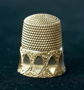 Vintage Sewing Thimble Size 10 10k Yellow Gold Simon Brothers Co 4 3g