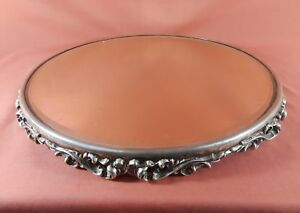 Large 14 Victorian Round Silver Plate Plateau Mirror
