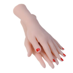1 Pair Lifesize Soft Mannequin Hands Model For Nail Tattoo Training Display