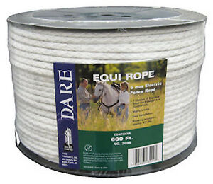 Electric Fence Rope Braided White Dacron Stainless Steel 6mm X 600 ft