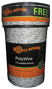 Electric Fence Polywire Ultra White 1 320 ft