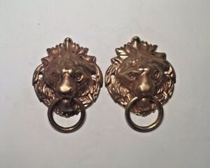 Lion Pull 1 3 4 Drawer Ring Pull Antique Stamped Solid Brass Lot Of 2
