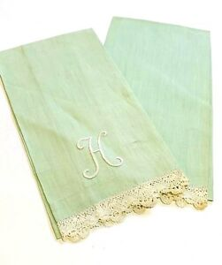 Vintage Dish Linen Tea Towel Set H Letter Monogram Mint Green Lace Trim