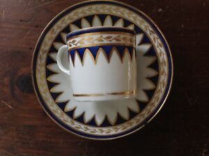 Early Porcelain Cup Saucer Gold Cobalt Faux Marble As Is Chip Old Paris