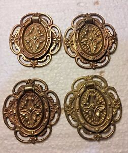 Four Antique Hepplewhite Oval Ring Drawer Pulls Solid Brass