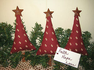 3 Primitive Country Christmas Handmade Fabric Rustic Red Trees Home Decor