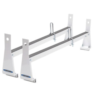 White Van Ladder Rack Roof Cargo Universal Steel Bars 600lb Capacity Werner New