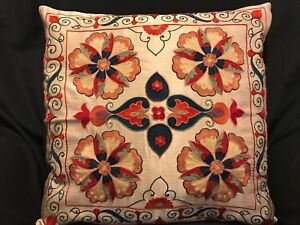 Uzbek Handmade Suzani Silk Pillowcase New Shipped From Usa