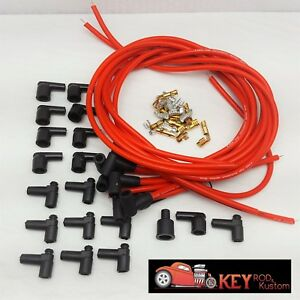 8 5mm Red 90 Degree Spark Plug Wires Hei Chevy Sbc Bbc Ford Mopar 350 454 351