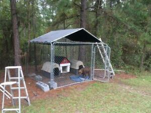10 X 10 Kennel Top Roof Top Frame And Cover Only Dog Live Stock Sun Rain Shade