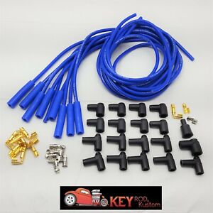 8 5mm Blue Straight Boot Spark Plug Wires Hei Chevy Sbc Bbc Ford Mopar 350 V8