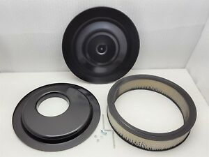 14 Round Black Air Cleaner Assembly Kit Off Set Hei Drop Base 3 Filter Sbc Bbc