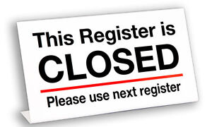 Plastic Register Closed l Sign 5 Pack Free Shipping