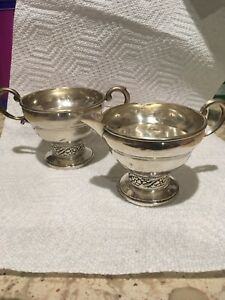 Columbia Sterling Silver Weighted Creamer And Sugar Bowl