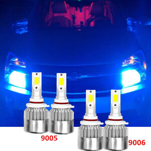 Ice Blue Combo 9005 9006 Led Headlight Bulbs High Low Beam For Chevrolet Gmc 4pc