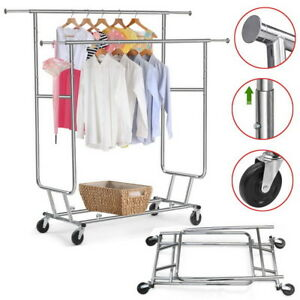 New Heavy Duty Garment Rack Steel Double bar Clothing Rolling Hanger Holder Us
