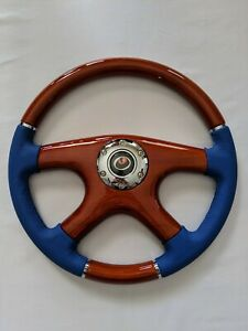 Raptor 15 Blue Leather Wood Grain Steering Wheel