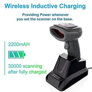 Wireless Barcode Scanner With Usb Cradle Receiver Charging Base 2 4ghz Handheld