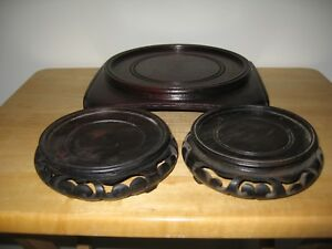 Three Fine Old Chinese Carved Lacquer Wood Stand For Porcelain Or Cloisonne Art