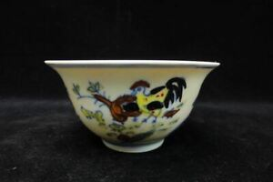 Rare Ancient Chinese Doucai Painting Chicken Porcelain Cup Chenghua Mark