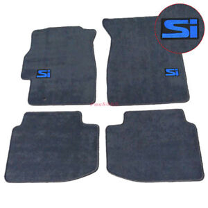 For 96 00 Honda Civic Floor Mats Front Rear Nylon Gray 4pc W blue Si Embrodery
