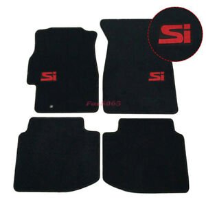For 96 00 Honda Civic Floor Mats Front Rear Nylon Black W Red Si Embrodery