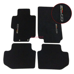 For 03 07 Honda Accord Floor Mats Front Rear Nylon Black W mugen Embrodery