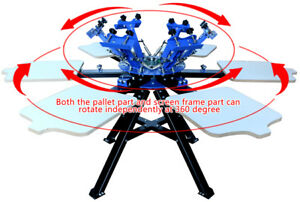 6 Color 6 Station Double Rotary Screen Printing Machine T shirt Print Equipment