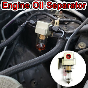 Engine Oil Separator Catch Tank Can Reservoir Tank W Breather Filter Baffled