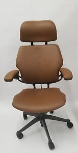 Humanscale Freedom Chair Fully Adjustable Model With Headrest In Light Brown
