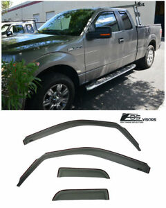 In channel Window Rain Visors Side Deflectors For 04 14 Ford F 150 Extended Cab