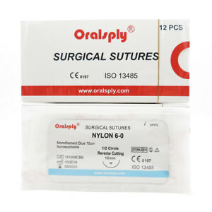 50 Boxes Sutures Nylon 6 0 polyamide 75cm Needle 1 2 Circle Reverse Cutting 16mm