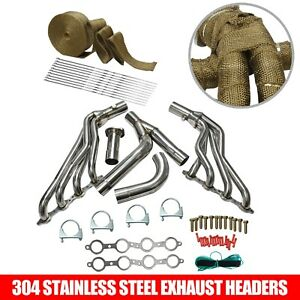 1 7 8 Long Tube Exhaust Header Y Pipe Kit For 99 06 Chevy Gmc Pickup