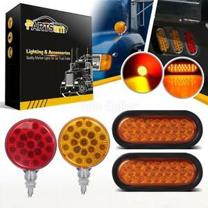 4pcs 4 Round Double Face 6 Oval Stop Turn Signal Tail Parking Light For Trucks