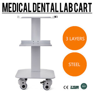 3 layer Steel Lab Medical Equipment Cart Quiet Lockable Wheels Utility Cart