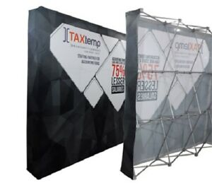 8ft Straight Pop Up Fabric Display Trade Show Backdrop Wall Stand Frame graphic